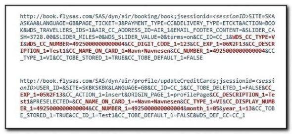 KLARTEKST: Her er et utdrag fra rapporten som viser hvor hvordan blant annet kredittkortinformasjon lagres i klartekst.Foto: