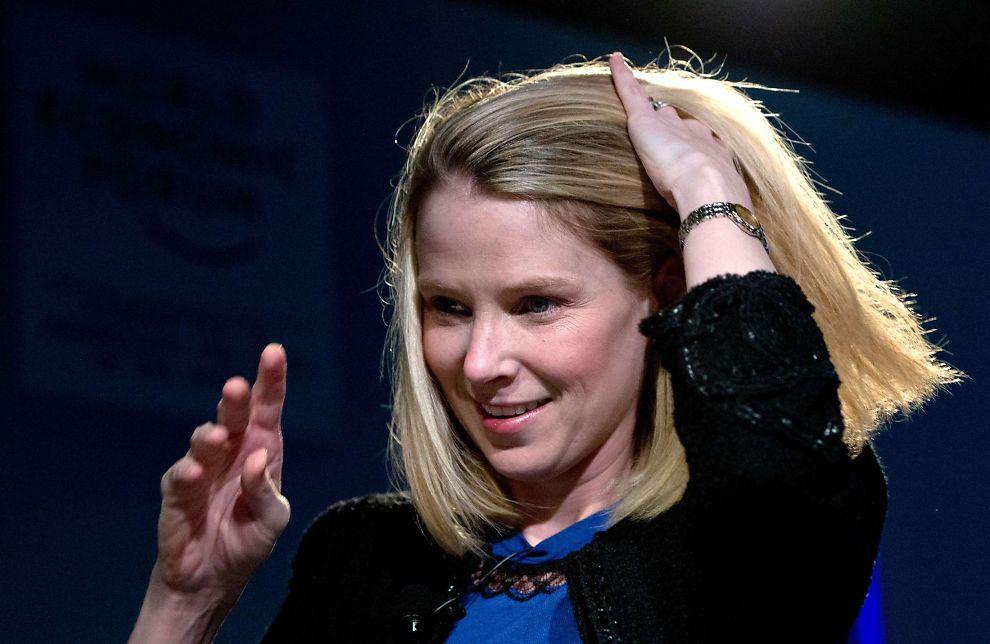 <p><b>HANDLEGLAD:</b> Konsernsjef Marissa Mayer i Yahoo under årets konferanse i Davos.<br/></p>