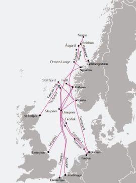 <p>Her er ledningsnettet Statoil er ansvarlig for fra Norskehavet og sørover til kontinentet.<br/></p>