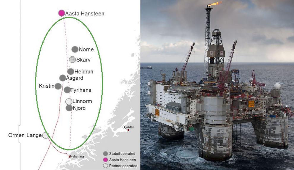 <p><b>LEDER VEI:</b> Den nye gassrørledningen fra Aasta Hansteen i Norskehavet vil gjøre det mulig å realisere andre gassfelt som ikke ellers hadde vært lønnsomme, ifølge Statoil. Til høyre er Heidrun-plattformen i det samme området avbildet.</p>