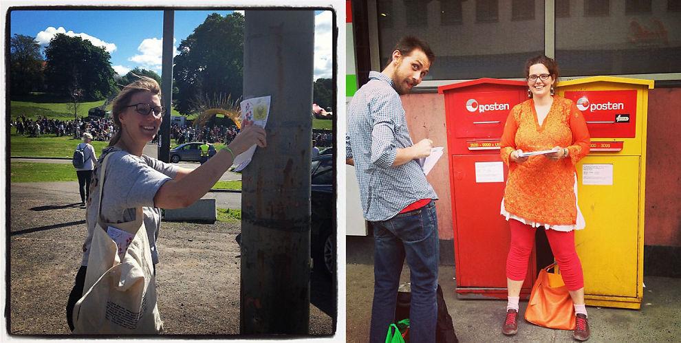 <p><b>INSTA PÅ PAPIR:</b> Marit Letnes (til venstre) og kolleagene Tom Erik Støwer og Benedicte Raae står bak Lillygram. Konseptet er å sende papirversjoner av Instagram-bilder til ikkedatakyndige personer. Til venstre henger Letnes opp reklame for tjenesten på Mini Øya, til høyre sender Stöwer og Raae ut første forsendelse.<br/></p>