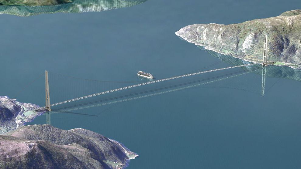 <p><b>HET POTET:</b> Selveste Sognefjorden kan krysses med ett enkelt kjempespenn på 3700 meter, mener prosjektledelsen for E39. Men en fergefri E39 vil ifølge E24-spaltisten bety at bompengebetalingen blir høyere enn dagens fergebilletter.<br/></p>