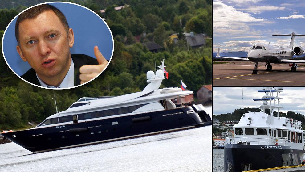 <p><b>PÅ NORGESBESØK:</b> Oleg Deripaska (innfelt) har de siste ukene feriert på Nordmøre med yachten «Elden», følgebåten «Severnaya Ten» og to private jetfly. </p>