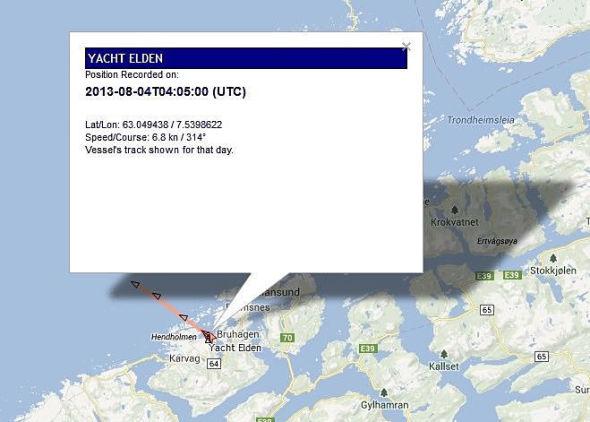 <p><b>PÅ NORDMØRE:</b> Nettstedet MarineTraffic angir yachtens posisjon til Averøy.<br/></p>