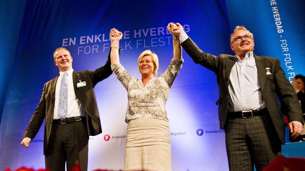 <p>Fra venstre: Ketil Solvik-Olsen, Siv Jensen og Per Sandberg i Frp.<br/></p>
