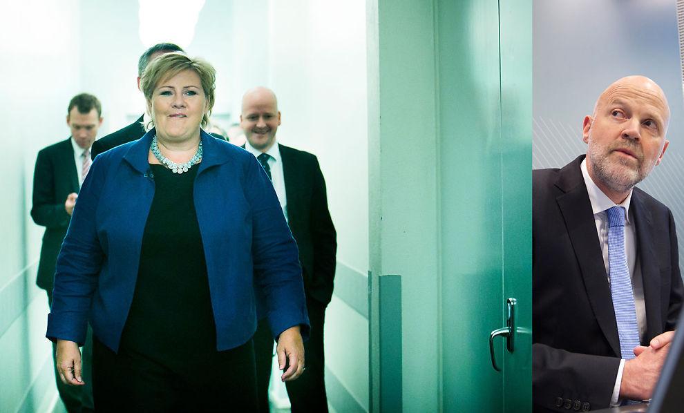 <p><b>OVERKJØRES HAN?</b> De borgerlige partiene gikk til valg på å overkjøre Finanstilsynet. Direktør Morten Baltzersen (til høyre) kan vente seg trøbbel fra Erna Solbergs finansminister.</p>