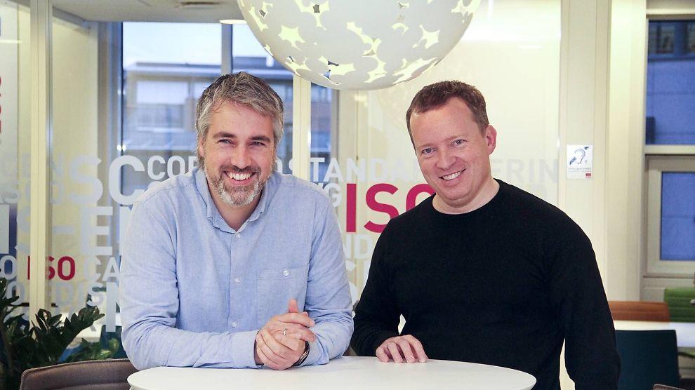 <p><b>DATAMYGG:</b> Håvard Bell, til venstre, og Steen Sunesen er overbevist om at den nye infrastrukturen Catenda har utviklet vil sette fart i bruken av BIM.</p>