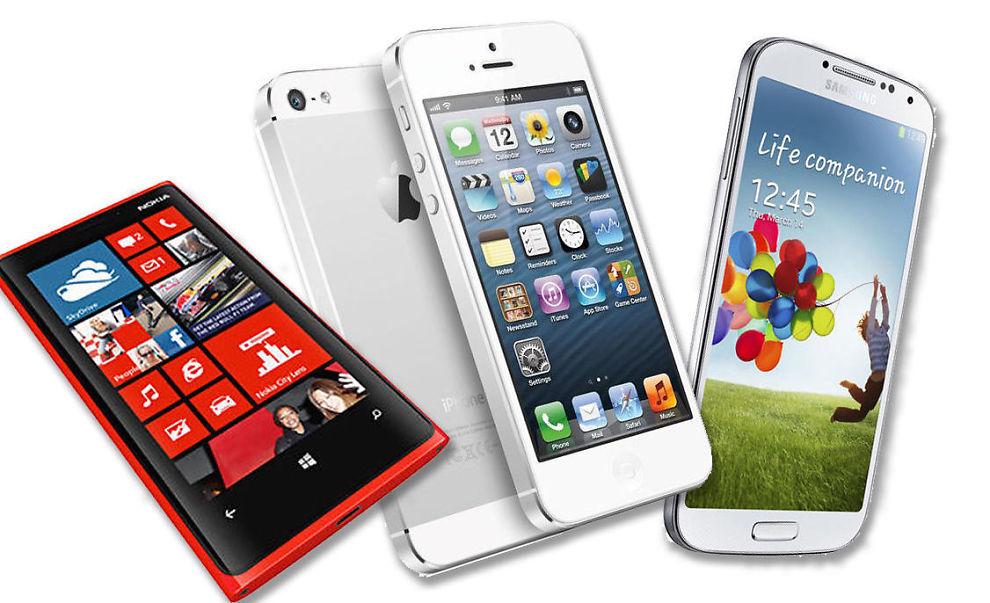 <p><b>STOR FORSKJELL:</b> Det varierer kraftig hvor fornøyd vi er med de ulike mobilmerkene, også hvorvidt vi vil kjøpe samme merke neste gang. Her noen av de som kommer best ut: Nokia (Lumia 920), Apple iPhone (5), Samsung (Galaxy S4).</p>