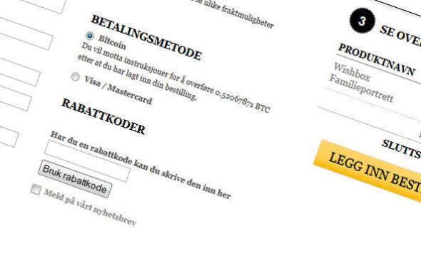 <p><b>BITCOINS-VALG:</b>Denne skjermdumpen viser hvordan du kan huke av Bitcoins som betaling på bestillingssiden til den norske nettbutikken.<br/></p>