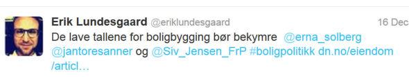 <p>TIDLIG PÅ: Lundesgaard startet sitt påvirkningsarbeid overfor regjeringen noen dager før det ble kjent at han starter som kommunikasjonssjef i Eff på nyåret, viser denne Twitter-meldingen fra 16.desember.<br/></p>