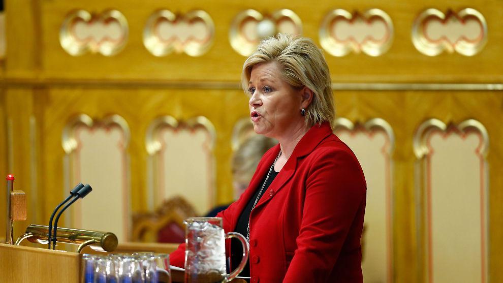 <p><b>KLAR OM KULL:</b> Finansminister Siv Jensen (Frp) i Stortingets spørretime.</p>