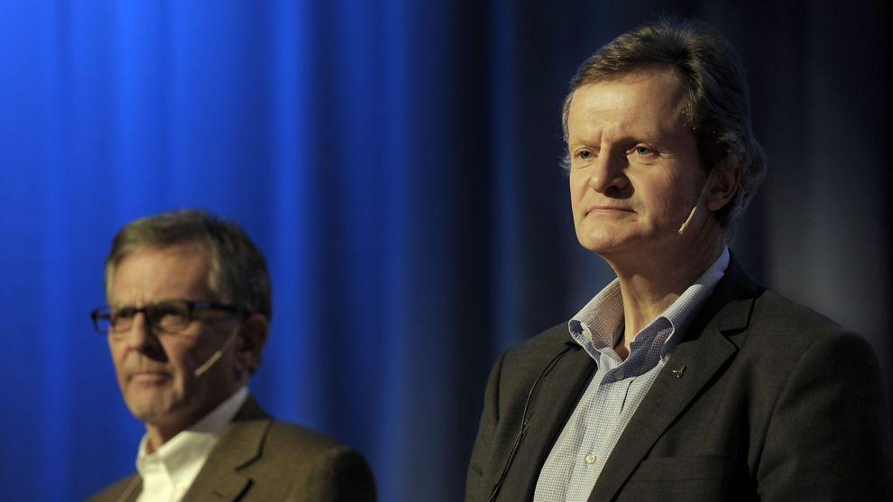 <p><b>IKKE ALENE:</b> Flere andre norske bedrifter gir karakterer til de ansatte. Styreleder i Telenor Harald Norvik (t.v.) og konsernsjef Jon Fredrik Baksaas (t.h.).<br/></p>