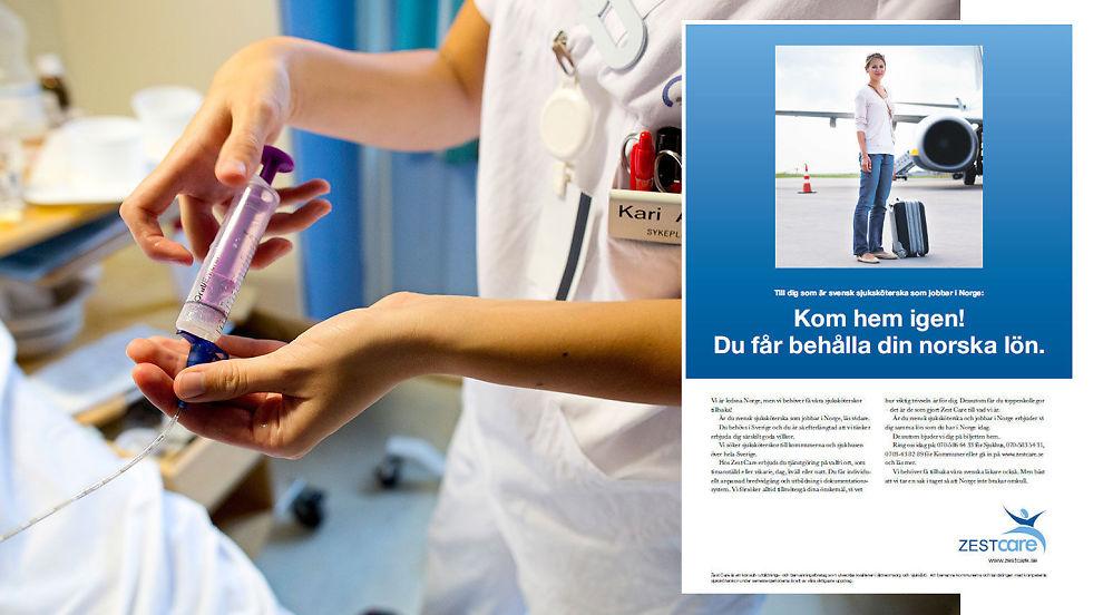 <p><b>KOM HEM:</b> Annonsen ber svenske sykepleiere om å komme hjem igjen.</p>