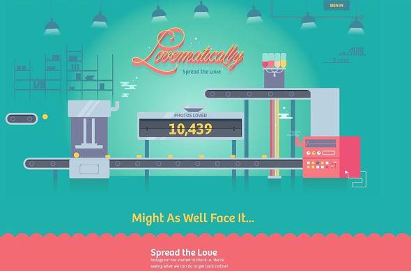 <p><b>«SPREAD THE LOVE»:</b> Lovematically ble lansert i går, og er hos mange brukere blokkert av Instagram. Alikevel hevder tjenesten å ha gitt «likes» til snart 11.000 bilder.<br/></p>