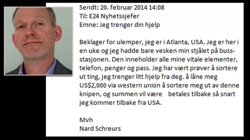 <p><b>DATAUHELL</b>: Erna Solberg fikk e-post fra Nard Schreurs med bønn om å sende penger.<br/></p>