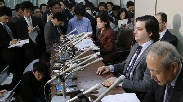 <p><b>LIKVIDERER:</b> Mt. Gox-eier Mark Karpelès under en pressekonferanse i Japan hvor likvideringen av Bitcoin-børsen Mt. Gox ble kunngjort.<br/></p>