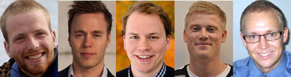 <p><b>TOPPSTUDENTER:</b> Hallvard Oltedal Veium (23), Jørgen Møinichen (25), Kim Allgot (24), Knut Anders Lia (24) og Kristian Eikeland Holmefjord (24).</p>