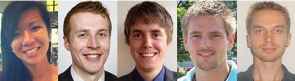 <p><b>TOPPKANDIDATER:</b> Linh Phuong Catherine Do (22), Magnus Olsvik (24), Morten Jacobsen (24), Roger Susort (25) og Tharald Solheim (22).</p>