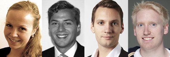 <p><b>TOPPSTUDENTER:</b> Åsne Burgess Øyehaug (23), Daniel Sørheim (24), Knut Ulsrud (26) og Olav Schewe (26).</p>