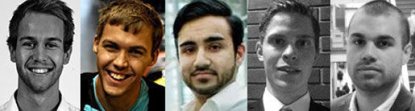 <p><b>TOPPSTUDENTER:</b> Peder Engesæth (22), Peter Vollen (23), Qadeer Ahmed Awan (23), Tarjei Lode (22) og Tomas Rosales.</p>
