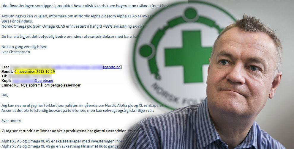 <p><b>MÅTTE HA PARETO-HJELP:</b> Da Norsk Folkehjelp skulle svare på spørsmål om sine hedgefond-investeringer, kom det e-post fra Pareto. Til høyre: Norsk Folkehjelps kommunikasjonssjef Håkon Ødegaard.</p>