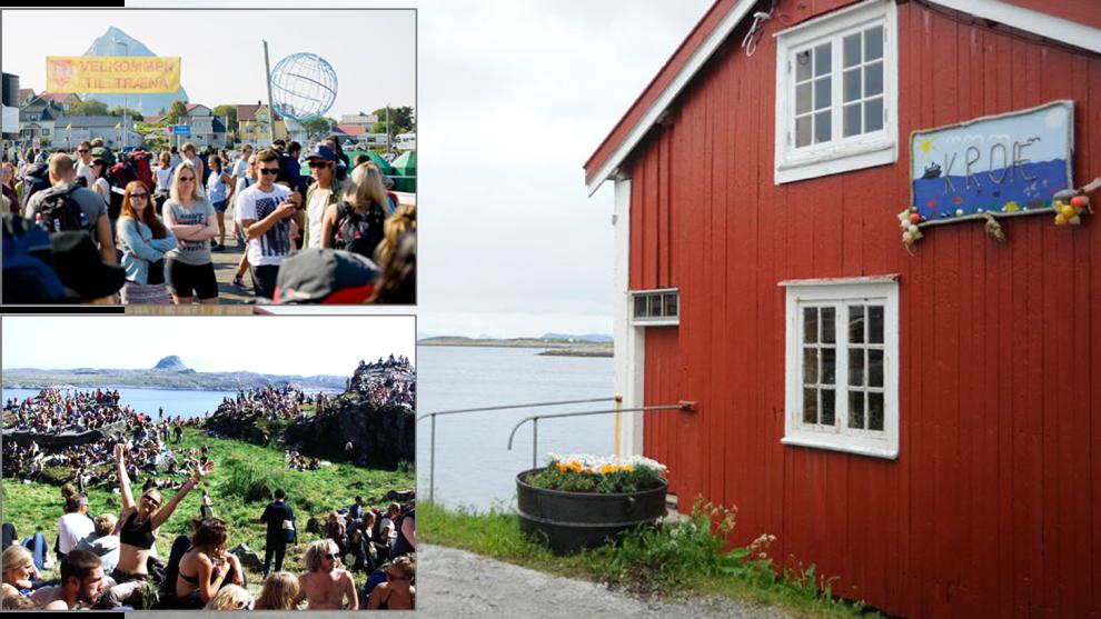 <p><b>FOLKEFEST:</b> Under musikkfestivaluken på Træna i juli opplever øygruppen en befolkningsvekst på opp mot 1.000 prosent. Utestedet «Kroæ» (t.h.) profitterer maks på storinnrykket fra festivalfolket.<br/></p>