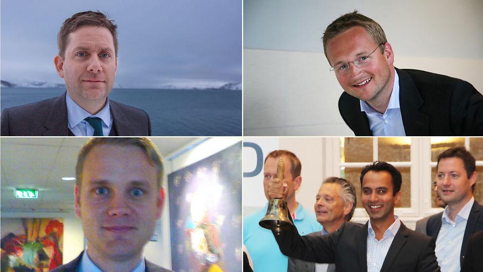 <p><b>UNGE:</b> Konsernsjefstolene på Oslo Børs er først og fremst okkupert av menn som har nådd livets middagshøyde. Men noen skiller seg ut. På topp 10-listen, øverst fra venstre: Daniel Skjeldam i Hurtigruten, Thomas Geving i NTS, Arne Møgster i Austevoll og Raman Bhatnagar i Cxense.<br/></p>