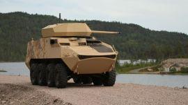 Kongsberg Gruppens nye fjernstyrte våpenstasjon for medium kaliber våpen, kalt Protector MCT-30