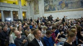 <p><b>FULLT:</b> Fullsatt i salen under foredraget til den franske samfunnsøkonomen Thomas Piketty i Universitetets Aula i Oslo fredag formiddag.<br/></p>