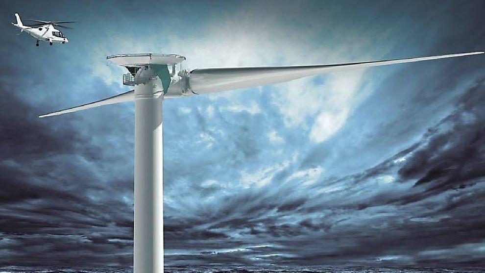 <p>Tyske Aerodyn står for designet av den tobladede havvindmøllen som skal monteres i Norge i løpet av 2016. Illustrasjonen viser er en større variant (8MW) av samme turbin. Den norske turbinen får en effekt på 6 MW.<br/></p><p></p>