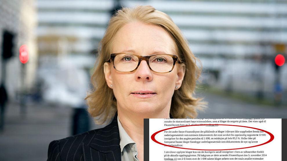 <p><b>– PÅFALLENDE:</b> Finanstilsynets seksjonssjef for inkasso Anne-Kari Tuv har liten tiltro til Oslo Creditservice sitt nedjusterte klageantall. Nå har de oversendt saken til Justisdepartementet.</p><p><br/></p>