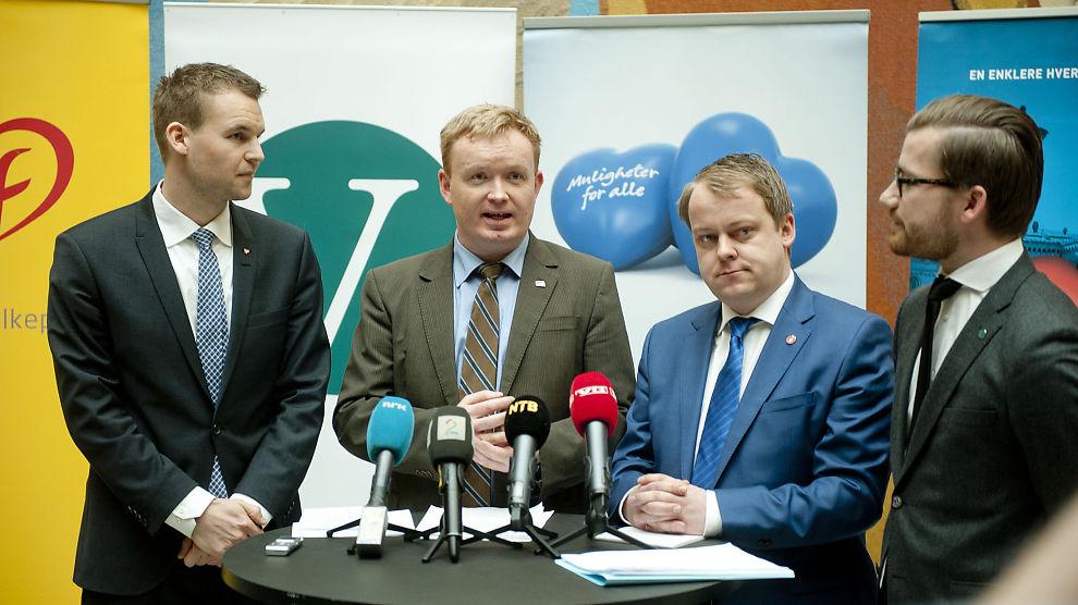 <p><b>LA FREM:</b> Regjeringspartiene, KrF og Venstre presenterer her forslag til ny arbeidsmiljølov under en pressekonferanse i vandrehallen på Stortinget i Oslo. Kjell Ingolf Ropstad (krF), Arve Kambe (H), Erlend Wiborg (Frp) og Sveinung Rotevatn (V) møtte pressen på Stortinget i dag.<br/></p>