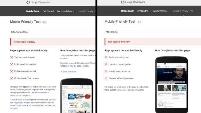 <p><b>DOBBEL STRYK:</b> Både DNB og Kompletts nettsider får stryk i Googles test for om nettsteder er mobilvennlige. Fra 21. april vil Google la denne testen påvirke hvor høyt nettsteder rangerer når du gjør søk fra en mobiltelefon.<br/></p>