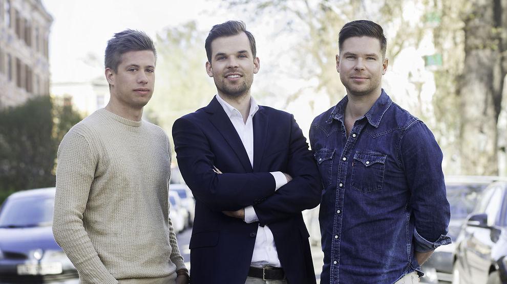 <p><b>TO BLE TRE:</b> Unacast har på åtte måneder gått fra å bli to ledere til tre, og skal bli minst ti etter en ansettelsesrunde. Fra venstre: Teknologisjef Martin Sahlen og gründerne Thomas Walle og Kjartan Slette.</p>