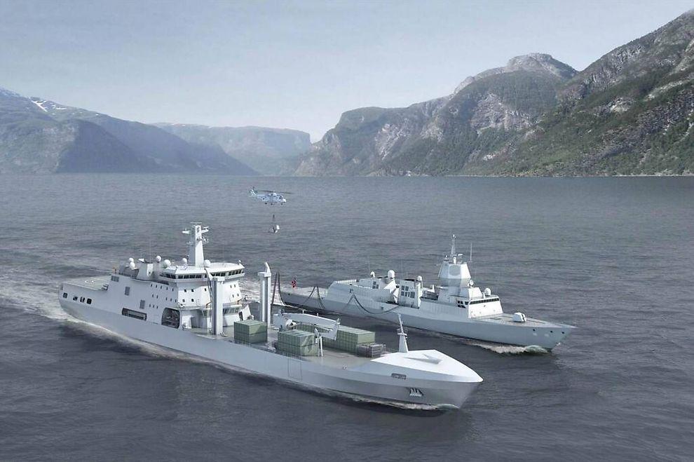 """<p itemprop=""""caption""""><b>SKIP:</b> Illustrasjon av det kommende logistikkfartøyet KNM Maud sammen med en fregatt i Fridtjof Nansen-klassen og et NH90-helikopter.<br/></p>"""