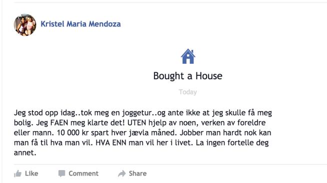 <p><b>STOLT FØRSTEGANGSKJØPER:</b> Kristel fortalte sine venner på Facebook at ingenting er umulig.</p>