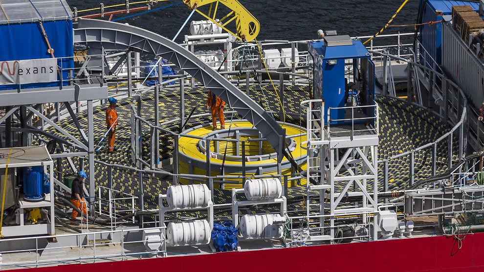 <p><b>GA ØKT KRAFTPRIS:</b> Bilde fra arbeid med Skagerrak 4-kabelen, som er den fjerde kraftkabelen som er blitt lagt mellom Norge og Danmark.</p>