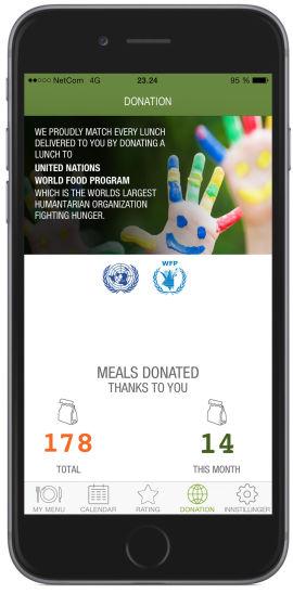 <p><b>LUNSJ FOR ALLE:</b> For hver bestilte lunsj blir én lunsj donert til FNs veldedighetsprogram.</p>