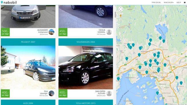 Nabobil lar deg allerede velge mellom en del utleiebiler. De aller fleste er i Oslo.