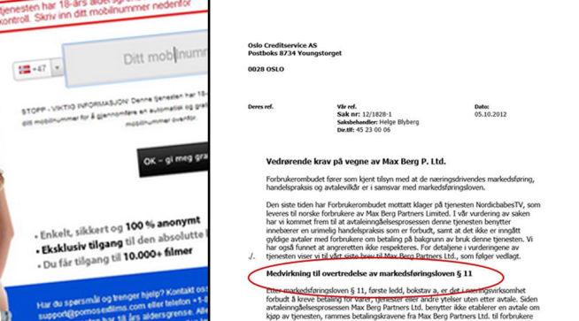 <p><b>ADVARSEL:</b> I et to år gammelt brev advarer Forbrukerombudet Oslo Creditservice om at innkrevningen fra utenlandske pornotjenester betyr medvirkning til lovbrudd. I bakgrunnen fra en pornoside drevet av firmaet Blue Ray Media, før siden ble tatt ned.</p>