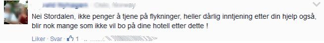 <p><b>FÅ GJESTER?</b> Denne mannen meddeler på Facebook at han tror det blir færre hotellgjester på Petter Stordalen om han lar flyktninger bo på Choice-hotellene.</p>