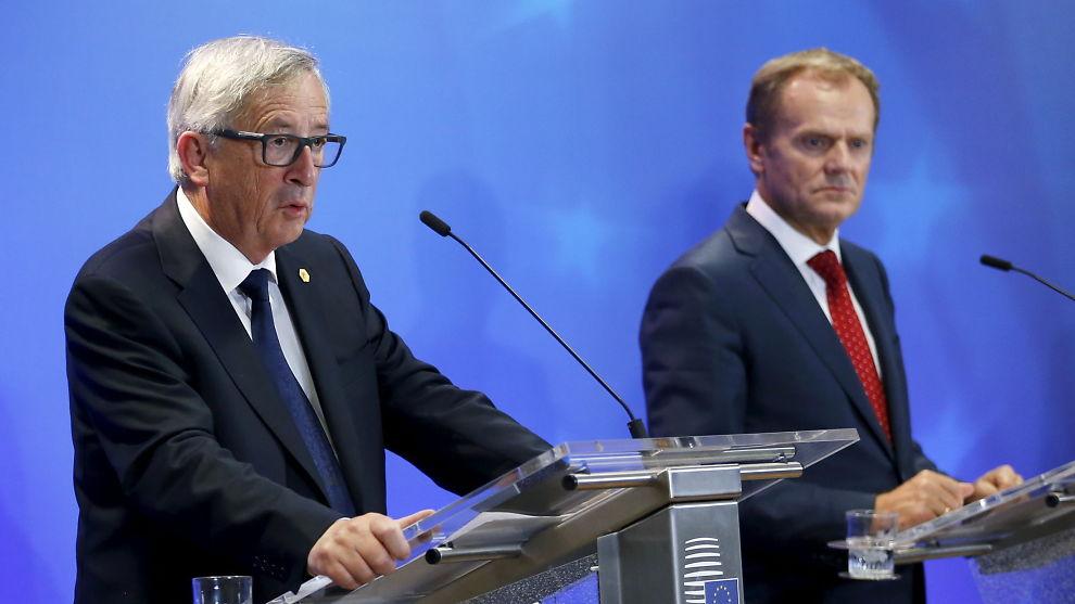 <p><b>LEDET:</b> EU-kommisjonens president Jean-Claude Juncker og EU-president Donald Tusk ledet i natt møte mellom statslederne i EU, hvor målet var å finne en løsning på flyktningerkrisen i Europa.<br/></p>