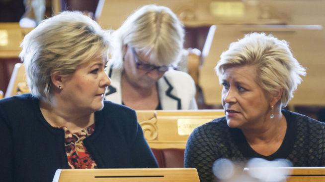 <p><b>VIL PRESENTERE SKATTEKUTT:</b> Statsminister Erna Solberg (tv) og finansminister Siv Jensen legger frem både statsbudsjett og forslag til skattereform i dag. Bilde fra trontaledebatten tirsdag.</p>