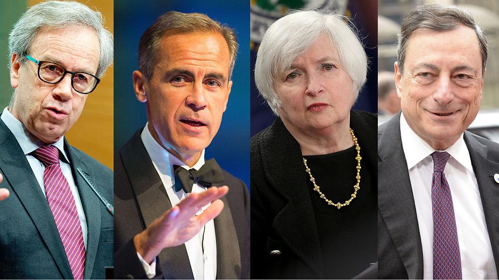 <p><b>RENTESJEFENE:</b> Fra venstre: Norges sentralbanksjef Øystein Olsen, den engelske sentralbanksjefen Mark Carney, Fed-sjef Janet Yellen og ESB-sjef Mario Draghi.</p>