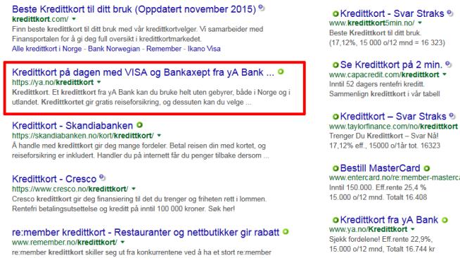 <p><b>LOKKER MED KREDITTKORT PÅ DAGEN:</b> yA Bank dukker opp som treff nummer to i Google-søk etter «kredittkort». I tillegg har banken kjøpt annonseplass i Google Adwords (tili høyre).</p>