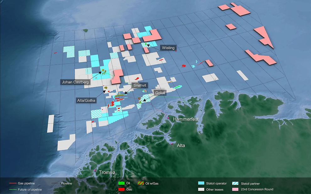 Illustrasjon over Barentshavet og områdene som skal deles ut i den 23. konsesjonsrunden (markert i rosa). Legg blant annet merke til arealet som ligger midt mellom Lundins Alta- og Gohta-funn, Snøhvit og Johan Castberg.