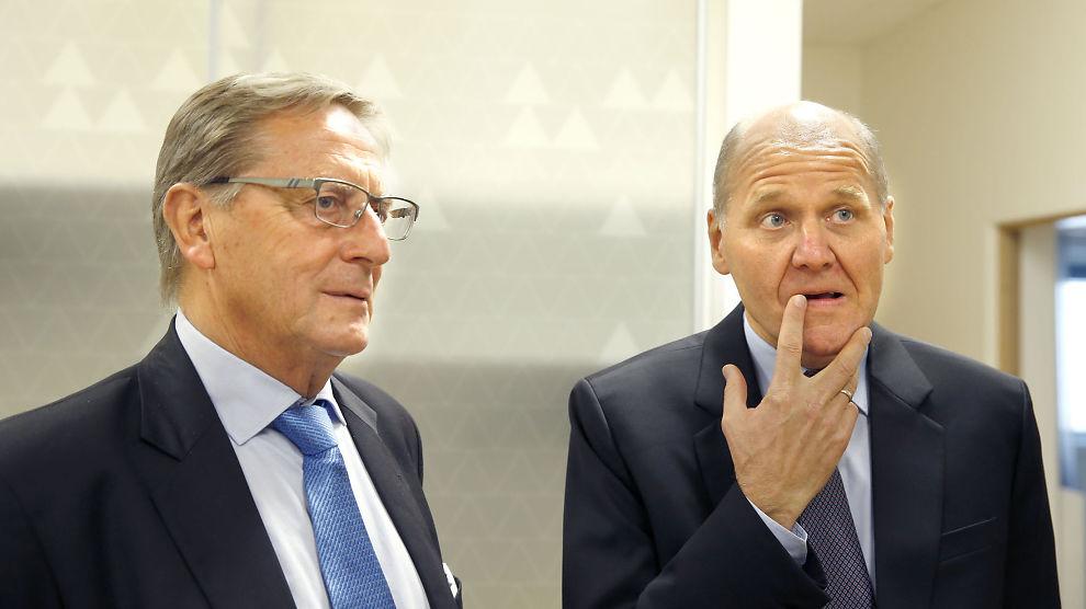 <p>MØTE: Tidligere Telenor-styreleder Svein Aaser, her fra møtet med næringsminister Monica Mæland (H) da Sigve Brekke ble ny Telenor-sjef.</p>